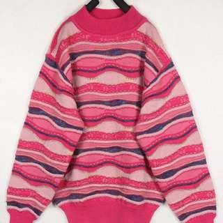 日本 古著 粉紅桃紅亮晶晶編織 苦瓜紋 毛衣