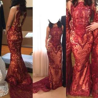 Red Party Dress / Long Gown Custom