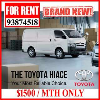 FOR RENT * Brand New Toyota HIACE $1500/mth - NO GST ( Deposit 1+1 only )