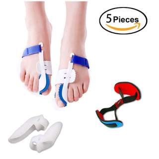 Hi-Brotaco 5Pcs Bunion Corrector Adjustable Bunion Splint Night Time Soft Gel for Bunion Relief, Bunion Corrector and Bunion Relief Protector Brace Kit for Big Toes, Bunion Pads, Toe Straightener, Toe Separators
