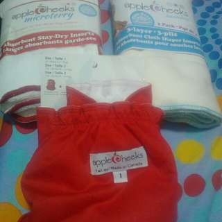 Brand new Apple Cheeks cloth diaper cover and cloth diaper