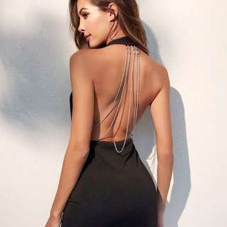 Plunging v-neckline surplice backless halted dress