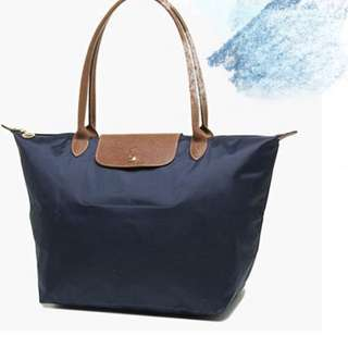 Longchamp長柄 深藍色 navy large