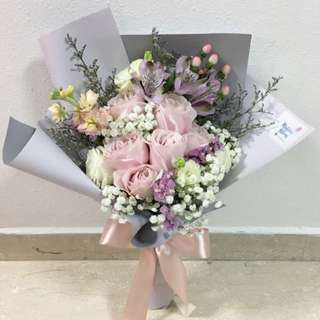 Pink Rose with Baby Breath and Mix Fillers / Valentines Day Bouquet Anniversary