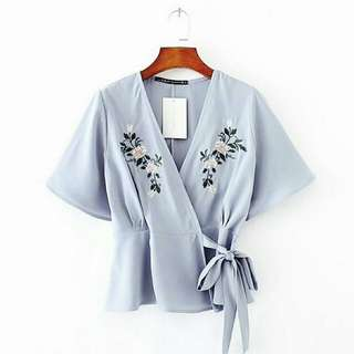 Blouse Kimono Soft Blue