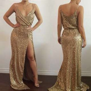 Gold sequinned long gown