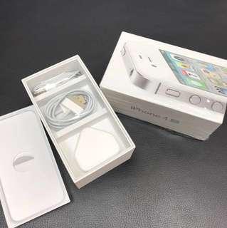 Apple iPhone 4s box charger earphone 原裝盒 耳機 充電線 三腳插 吉盒 配件