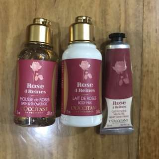 L'Occitane Rose 4 Reines Bath & Shower Gel, Body Milk and Hand Cream