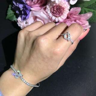 18k 白金鑽石手鏈及戒指