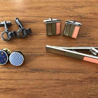 Cufflinks, tie clip and lapel pins