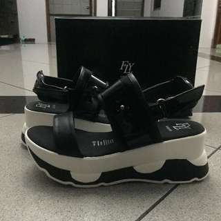 Fly Shoes Black and White Wedges / Platform