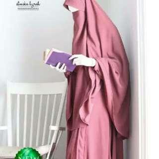 Gamis zulfia bordeaut pink L by elmika hijrah