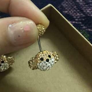 正韓鈦鋼耳環 肚臍環 好福滿鑽猴