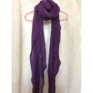紫色 冷頸巾 圍巾 purple knitted scarf