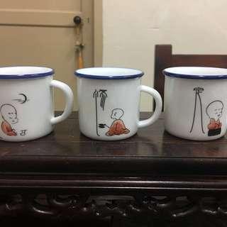 "Chinese Retro Mini Imitation Ebamel cup-""复古迷你仿搪瓷杯"" little buddha x 6pcs"