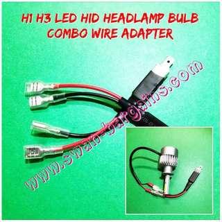 2 Pairs Universal Car H1 H3 LED Headlight Bulb Wiring Adapter