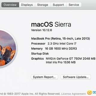 2013 Late Macbook Pro 15' i7-2.3G 16GB Ram 512 SSD GT750M 2GB