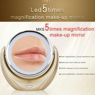 Brilliant future MKS 1X/5X Magnification Double Sided LED Illuminated Cosmetic Mirror, 360 Degree Swiveling Rotating Tabletop Countertop Standing Vanity Makeup Mirror for Bedroom or Bathroom - Battery Operated