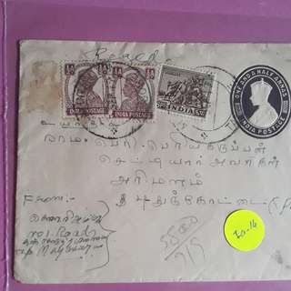 British INDIA -  GEORGE up rated Registered mix india - 1949 vintage Postal History Cover - ia12