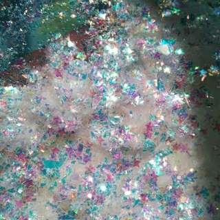 Irregular and stars nail flakes