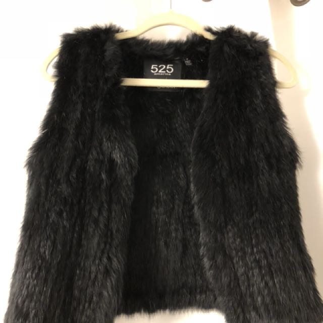 525 rabbit fur vest size small black