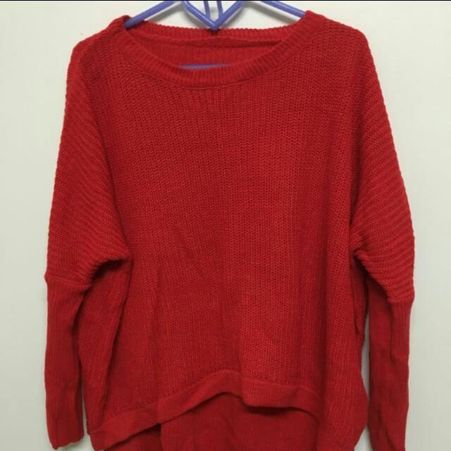 前短後長🌸紅針織上衣