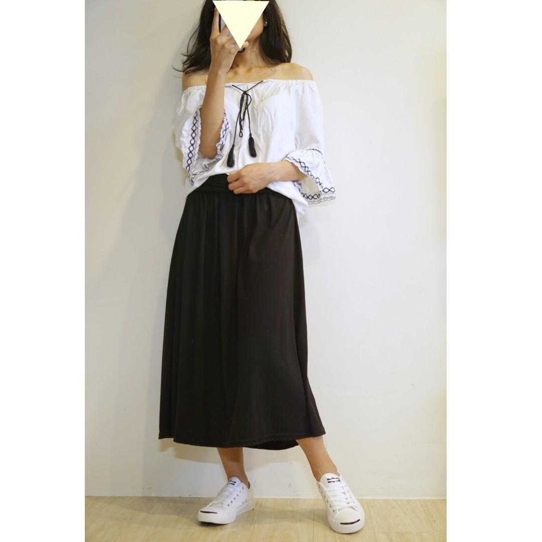 棉質長裙(黑色)