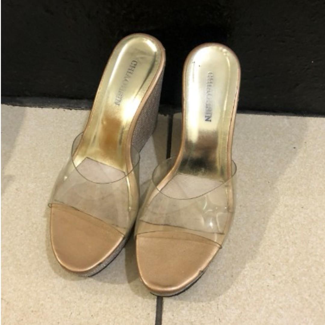 金蔥透明性感一字高跟後底楔型涼鞋/楔型拖鞋