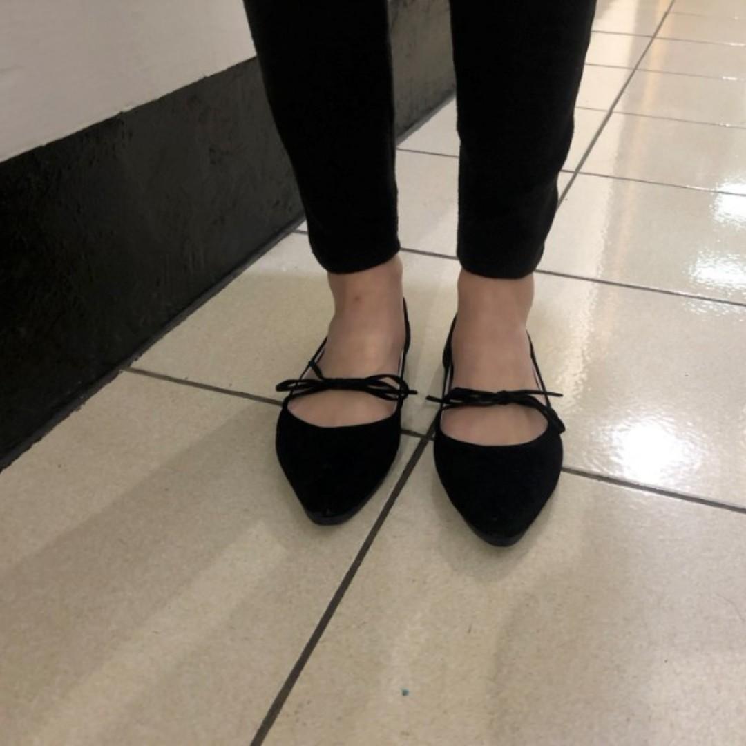 蝴蝶結平底尖頭鞋/便鞋/平底鞋