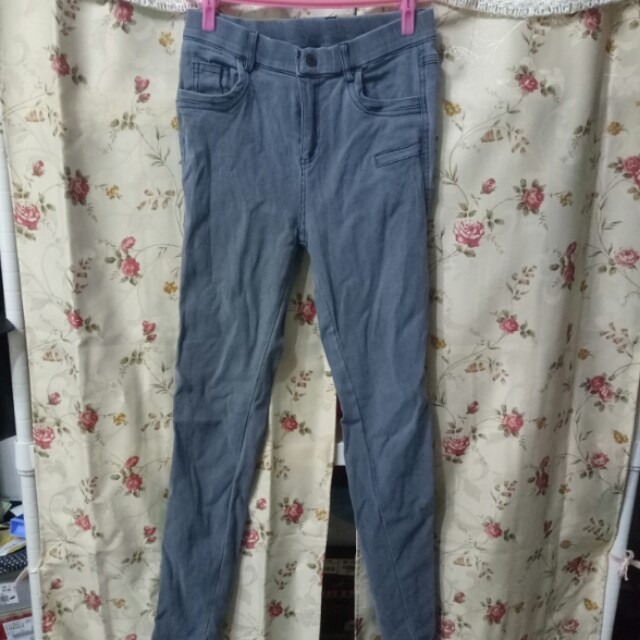 彈性灰藍色貼身長褲窄管褲