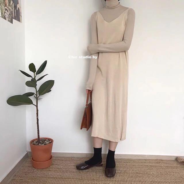 (私物)全新杏色針織背心裙