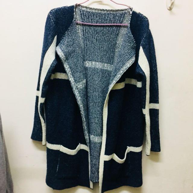 格子針織開襟罩衫 毛衣外套