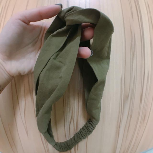 韓國 交叉素色髮帶