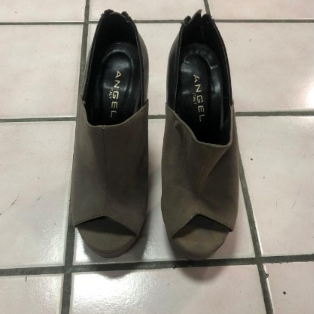 專櫃品牌 Angel italy 露趾魚口異材質拼接高跟懷靴