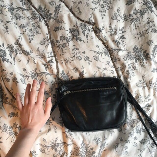 All saints black leather purse