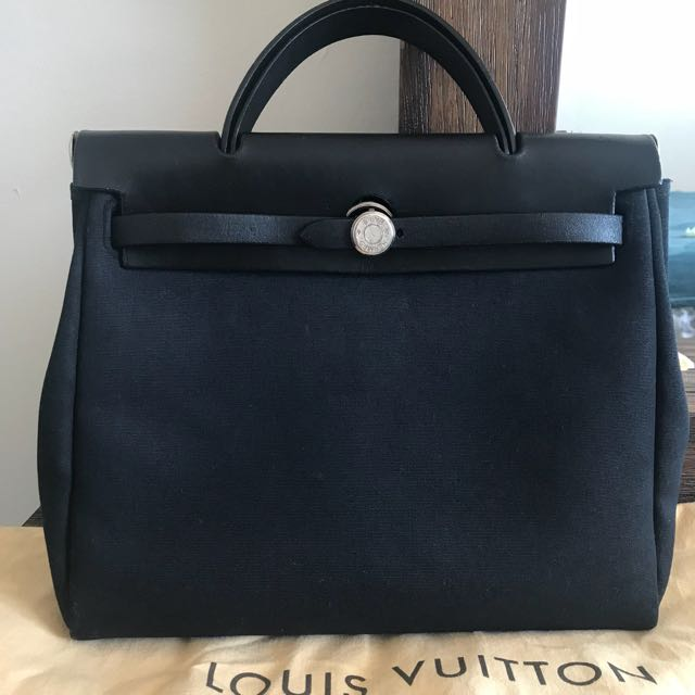 Authentic Hermes Black Herbag Tote
