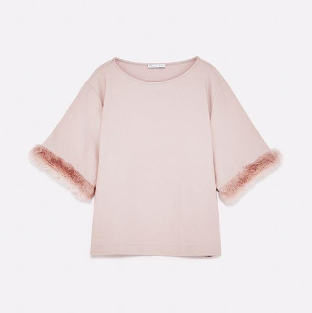 Authentic Zara Dusty Blush Pink Faux Fur Sleeve Top Blouse Shirt Tee Tshirt