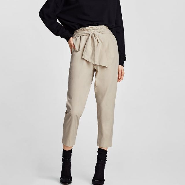 Authentic Zara Self Tie Bow Knot Ribbon Paper bag Trousers Pants