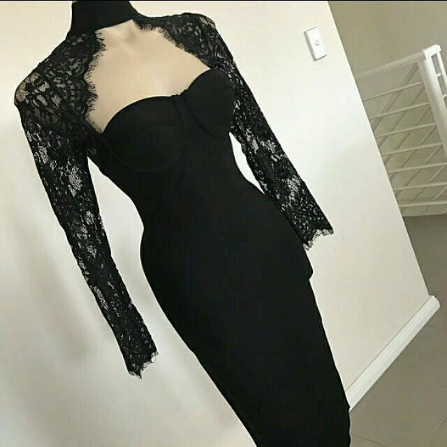 Black bandage lace dress sz 10