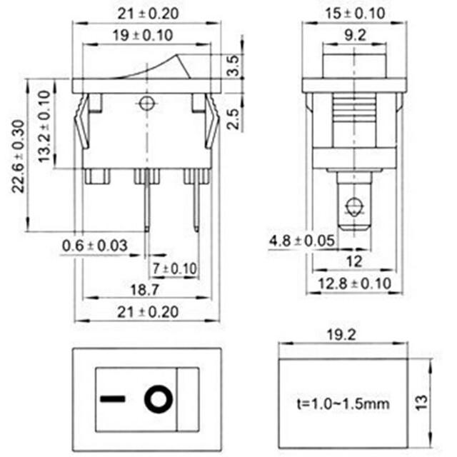 Black Push Button Mini Switch 6A-10A 110V 250V 2 Pin Snap-in