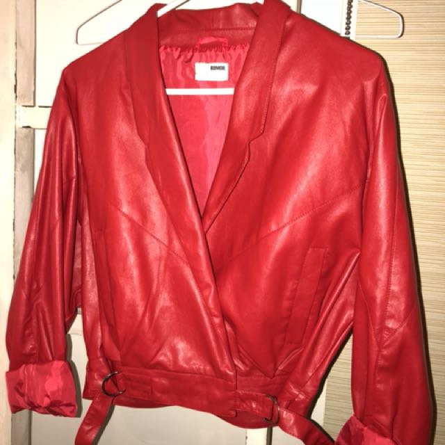 BNWOT Faux Red Leather Jacket