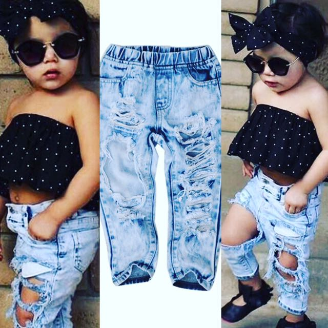 Brand new little miss jeans and crop sets
