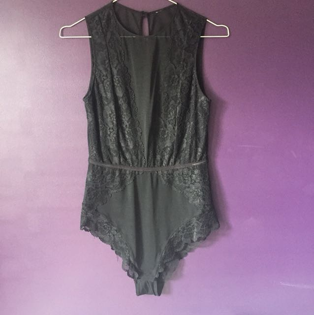Bras n things black mesh bodysuit size 12