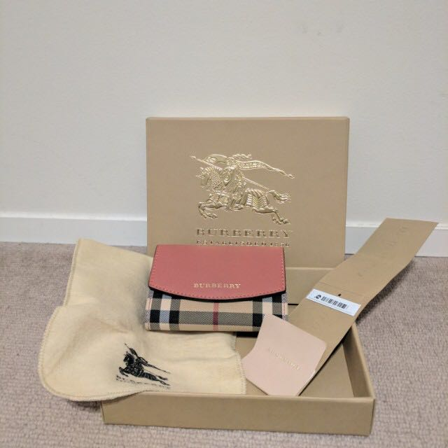 Burberry Horseferry Check/Leather Card Case in Rose