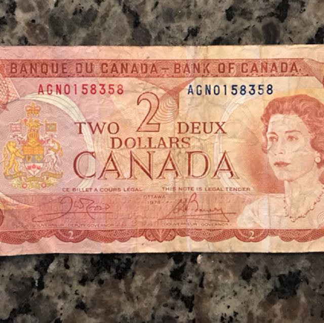 Canadian $2 bill/ banknote