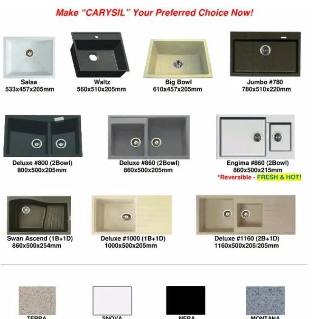 Carysil Granite Kitchen Sink Kitchen Granite Sink Bowl Basin Kitchen Sink Carysil Kitchen Granite Sink Home Appliances On Carousell