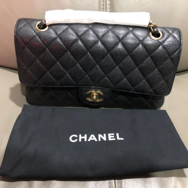 b220f6bd5a9e Chanel Classic Medium caviar with gold hardware. Series #14, Luxury, Bags &  Wallets on Carousell