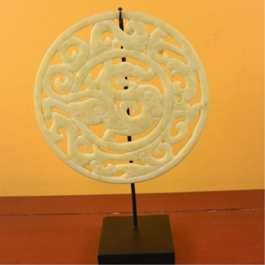 decor handmade large stone Disc on stand decorative sculpture diam 30cm