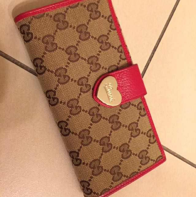 Classic Gucci monogram red brown wallet