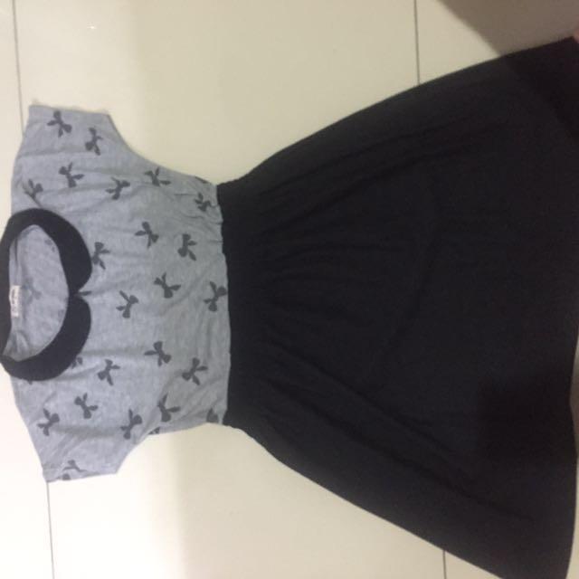 Colar flare dress grey black ribbon kerut abu hitam NEVADA
